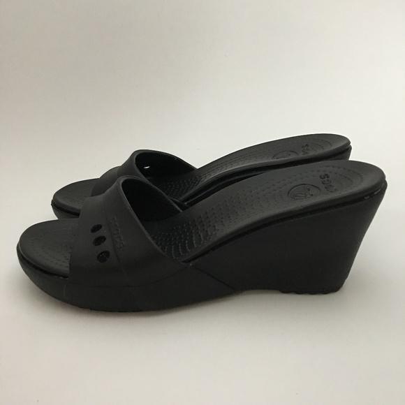 76c9aa10c0a7 CROCS Shoes - Crocs Black Wedge Heel Sandals Shoes Slides Size 7